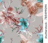summer flowers seamless pattern.... | Shutterstock . vector #785499094
