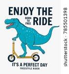 cute dinasaur riding scooter....   Shutterstock .eps vector #785501398