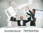 excited businessare throwing...   Shutterstock . vector #785504356