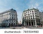 Small photo of Vienna, Austria - August 16, 2017: Michaelerplatz in Vienna with Looshaus designed by Adolf Loos on background