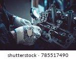 the auto mechanic deconstructs...   Shutterstock . vector #785517490