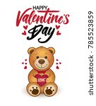 funny cartoon teddy bear with... | Shutterstock .eps vector #785523859