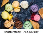 selection of colorful ice cream ... | Shutterstock . vector #785530189