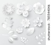 Paper Art Isolated Flowers. Se...