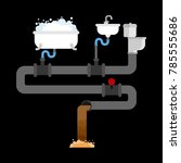 sewer system in house. pipes... | Shutterstock .eps vector #785555686