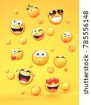 various emojis on yellow... | Shutterstock . vector #785556148