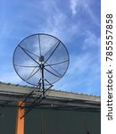 satellite disc on the home roof ...   Shutterstock . vector #785557858