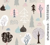 seamless pattern hedgehogs with ... | Shutterstock .eps vector #785558536