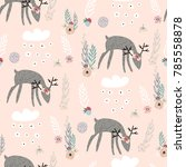 Seamless Pattern With Deers ...