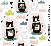 seamless pattern with bear ... | Shutterstock .eps vector #785560138