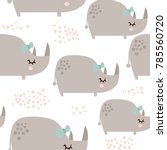 seamless pattern with cute... | Shutterstock .eps vector #785560720