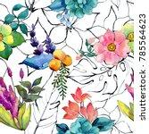 tropical flower pattern in a...   Shutterstock . vector #785564623