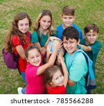 learning geography in the park. | Shutterstock . vector #785566288
