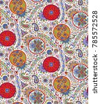 paisley colorful seamless... | Shutterstock . vector #785572528