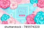 spring sale background with... | Shutterstock .eps vector #785574223