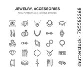 jewelry flat line icons ... | Shutterstock .eps vector #785583268