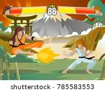 videogame fighting players stage | Shutterstock .eps vector #785583553
