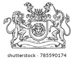 a lion and unicorn heraldic... | Shutterstock .eps vector #785590174