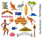 australia icons set. australian ... | Shutterstock .eps vector #785594866