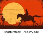 Silhouette Of A Cowboy Riding ...