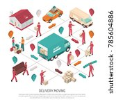 colored isometric delivery... | Shutterstock . vector #785604886