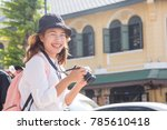 young female traveller or asian ... | Shutterstock . vector #785610418