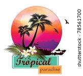 Stock vector tropical beach sunset 78561700