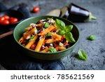 pasta alla norma   traditional... | Shutterstock . vector #785621569