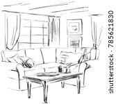 hand drawn room interior sketch.... | Shutterstock .eps vector #785621830