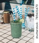 green healthy smoothie drink... | Shutterstock . vector #785631670