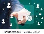 businessman presses button home ... | Shutterstock . vector #785632210