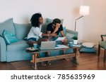 young interracial couple in the ... | Shutterstock . vector #785635969