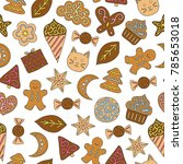 seamless pattern with hand... | Shutterstock .eps vector #785653018