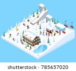 mountain resort village... | Shutterstock . vector #785657020