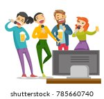 young caucasian white friends... | Shutterstock .eps vector #785660740