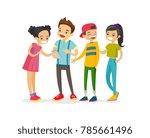 caucasian white group of... | Shutterstock .eps vector #785661496