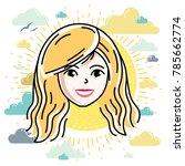 beautiful women face  human... | Shutterstock .eps vector #785662774