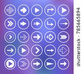 set icons. white arrows in blue ... | Shutterstock .eps vector #785665894