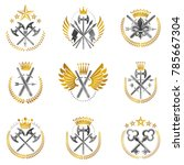vintage weapon emblems set.... | Shutterstock .eps vector #785667304