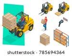 isometric vector forklift truck ... | Shutterstock .eps vector #785694364
