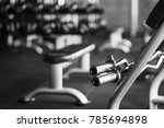 iron barbell in gym with sport... | Shutterstock . vector #785694898