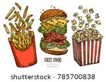 sketch flying fast food... | Shutterstock .eps vector #785700838