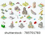 set of isometric city buildings.... | Shutterstock .eps vector #785701783
