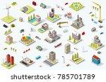 set of isometric city buildings.... | Shutterstock .eps vector #785701789