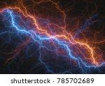 fire and ice lightning bolt ...   Shutterstock . vector #785702689
