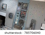 airplane pilot's cockpit with... | Shutterstock . vector #785706040