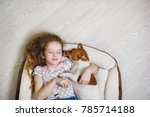laughing girl hugging and... | Shutterstock . vector #785714188
