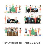 new year party set. people in... | Shutterstock . vector #785721736