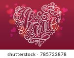 valentine card with vintage... | Shutterstock .eps vector #785723878