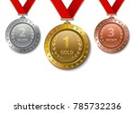 set of realistic 3d champion... | Shutterstock . vector #785732236